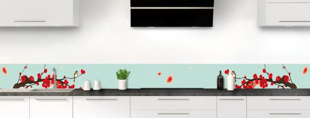 Crédence de cuisine Cerisier japonnais couleur vert pastel dosseret motif inversé