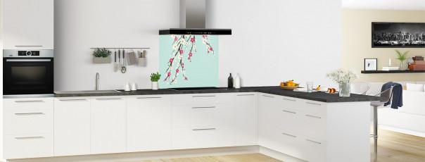 Crédence de cuisine Arbre fleuri couleur vert pastel fond de hotte motif inversé en perspective