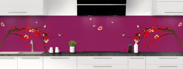 Crédence de cuisine Cerisier japonnais couleur prune panoramique motif inversé