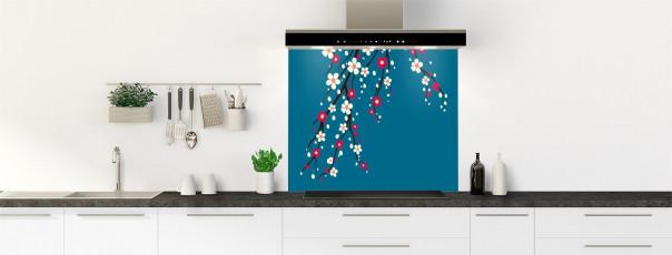Crédence de cuisine Arbre fleuri couleur bleu baltic fond de hotte motif inversé