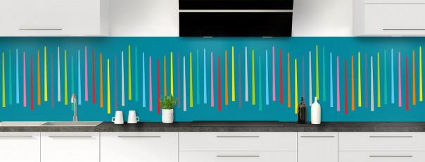 Crédence de cuisine Barres colorées couleur bleu canard panoramique