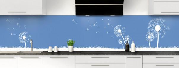 Crédence de cuisine Pissenlit au vent couleur bleu lavande panoramique motif inversé