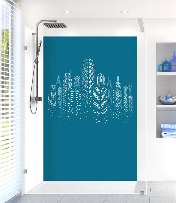 Panneau de douche Gratte-ciels couleur bleu baltic