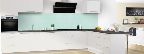 Crédence de cuisine Cubes en relief couleur vert pastel panoramique en perspective