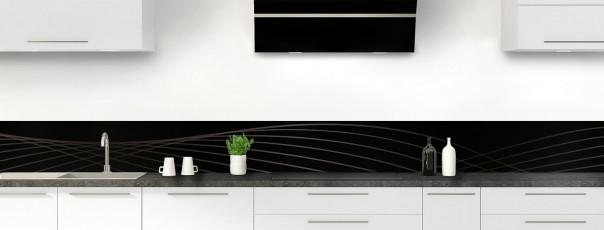 Crédence de cuisine Courbes couleur noir dosseret motif inversé