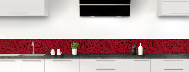 Crédence de cuisine Love illustration couleur rouge carmin dosseret