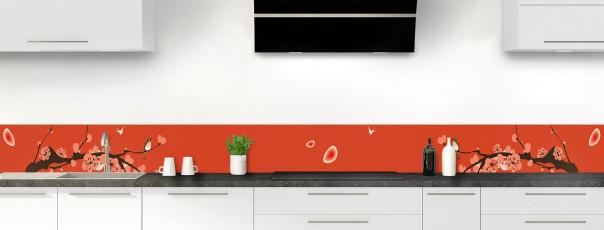 Crédence de cuisine Cerisier japonnais couleur rouge brique dosseret motif inversé