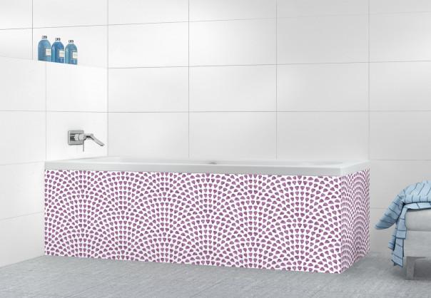 Panneau tablier de bain Mosaïque petits cœurs couleur parme