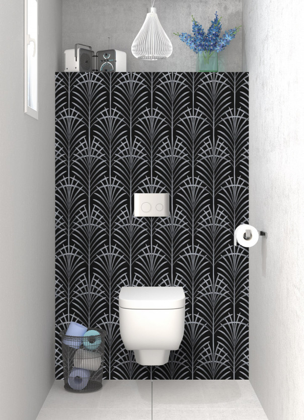 Panneau WC Feuilles de paume couleur gris métal