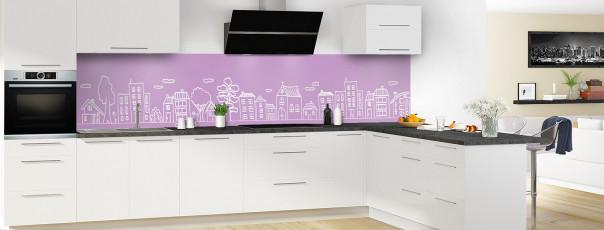 Crédence de cuisine Dessin de ville couleur parme panoramique en perspective