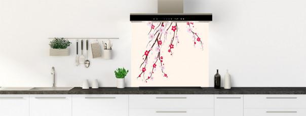 Crédence de cuisine Arbre fleuri couleur magnolia fond de hotte motif inversé