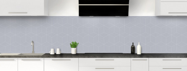 Crédence de cuisine Cubes en relief couleur gris métal panoramique