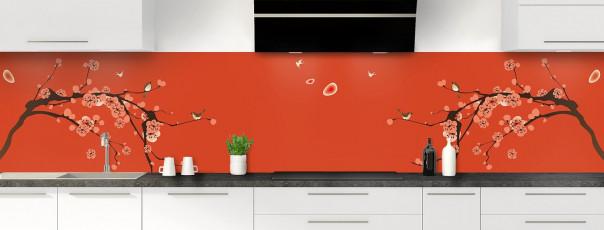 Crédence de cuisine Cerisier japonnais couleur rouge brique panoramique motif inversé