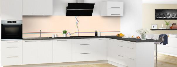 Crédence de cuisine Light painting couleur sable panoramique motif inversé en perspective