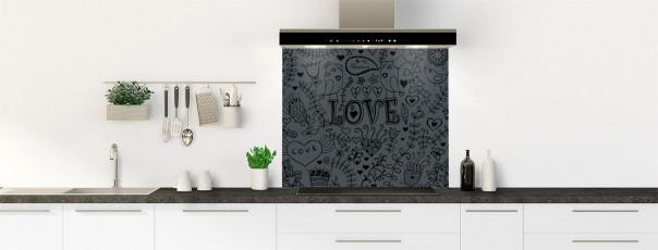 Crédence de cuisine Love illustration couleur gris carbone fond de hotte
