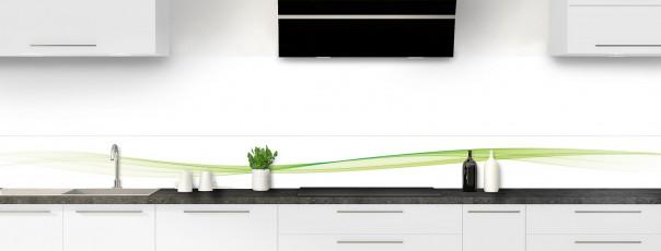 Crédence de cuisine Vague graphique couleur vert olive dosseret motif inversé