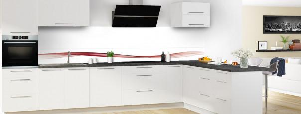 Crédence de cuisine Vague graphique couleur rouge carmin dosseret en perspective