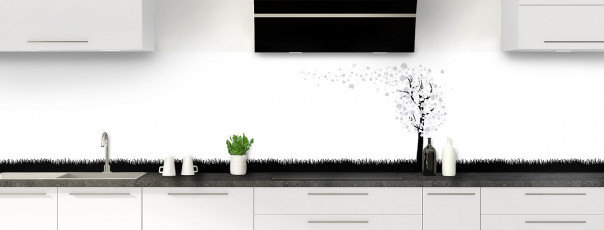 Crédence de cuisine Arbre d'amour couleur gris clair panoramique motif inversé