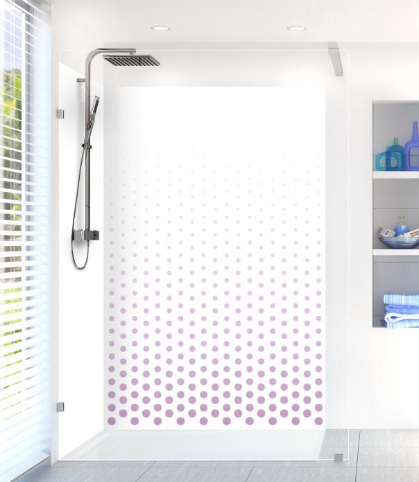 Panneau de douche Pluie de points couleur parme