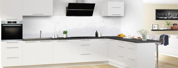 Crédence de cuisine Prairie et papillons couleur gris clair panoramique motif inversé en perspective