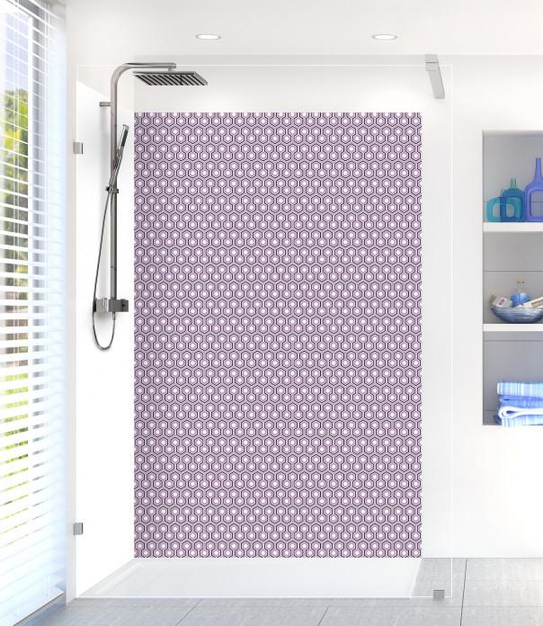 Panneau de douche Hexagones  couleur parme