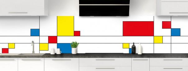 Crédence de cuisine Rectangles Mondrian panoramique motif inversé