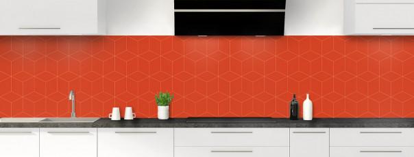 Crédence de cuisine Cubes en relief couleur rouge brique panoramique