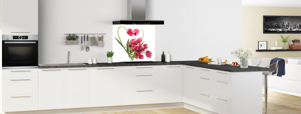 Crédence de cuisine Cœur de tulipes fond de hotte en perspective