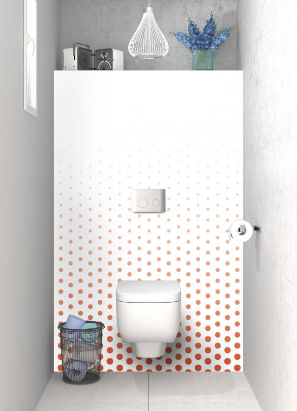 Panneau WC Pluie de points couleur rouge brique