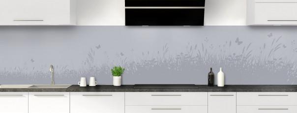 Crédence de cuisine Prairie et papillons couleur gris métal panoramique motif inversé