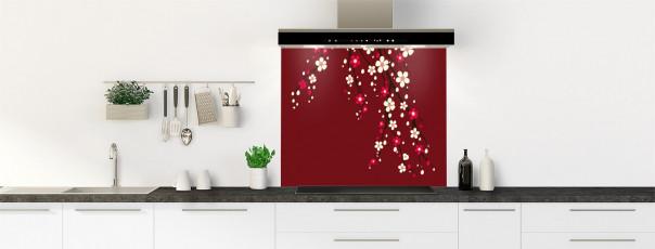 Crédence de cuisine Arbre fleuri couleur rouge pourpre fond de hotte