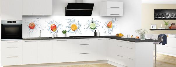 Crédence de cuisine Aqua et mix de fruits panoramique motif inversé en perspective