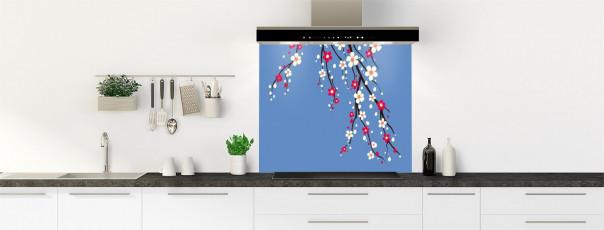 Crédence de cuisine Arbre fleuri couleur bleu lavande fond de hotte