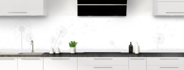 Crédence de cuisine Pissenlit au vent couleur blanc panoramique