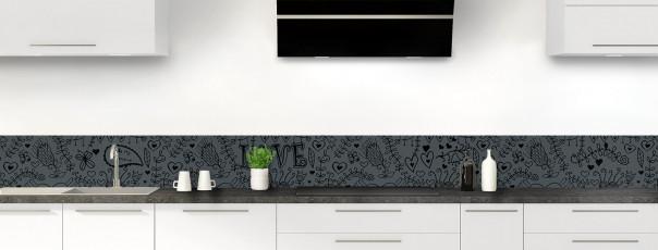 Crédence de cuisine Love illustration couleur gris carbone dosseret