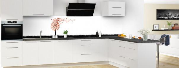 Crédence de cuisine Arbre d'amour couleur rouge brique panoramique en perspective