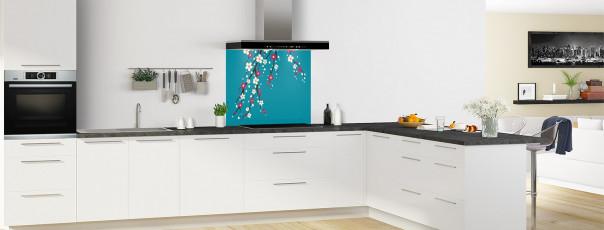 Crédence de cuisine Arbre fleuri couleur bleu canard fond de hotte motif inversé en perspective