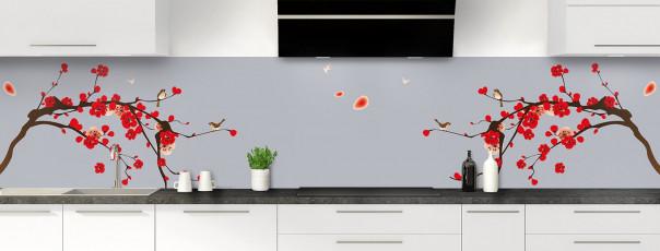 Crédence de cuisine Cerisier japonnais couleur gris métal panoramique motif inversé