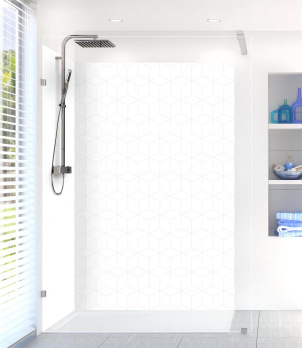 Panneau de douche Cubes en relief couleur blanc