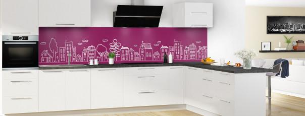 Crédence de cuisine Dessin de ville couleur prune panoramique en perspective