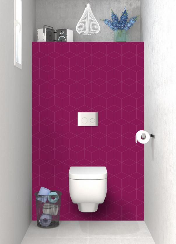 Panneau WC Cubes en relief couleur prune