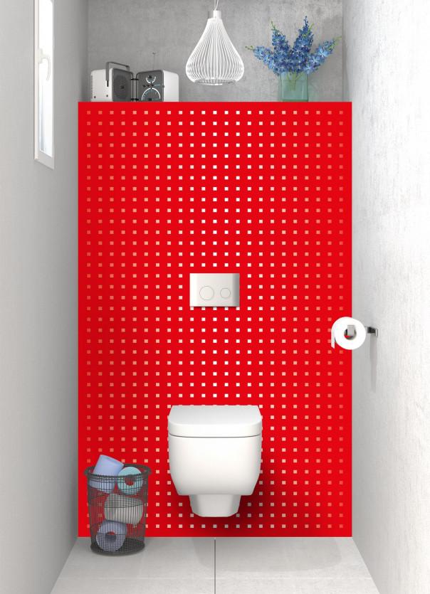 Panneau WC Petits carrés couleur rouge vif