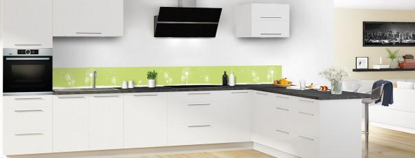 Crédence de cuisine Pissenlit au vent couleur vert olive dosseret motif inversé en perspective