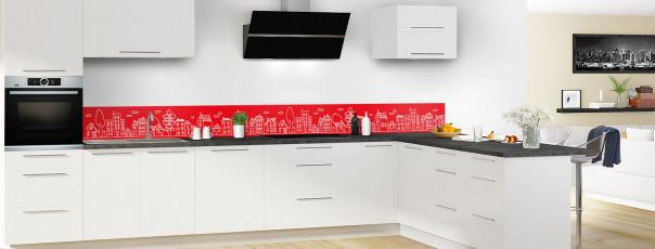 Crédence de cuisine Dessin de ville couleur rouge vif dosseret en perspective