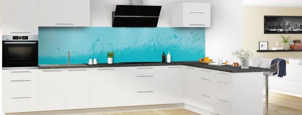 Crédence de cuisine Prairie et papillons couleur bleu lagon panoramique motif inversé en perspective