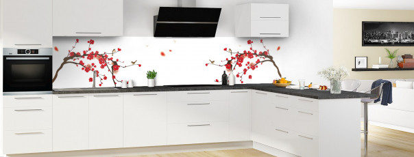 Crédence de cuisine Cerisier japonnais couleur blanc panoramique en perspective