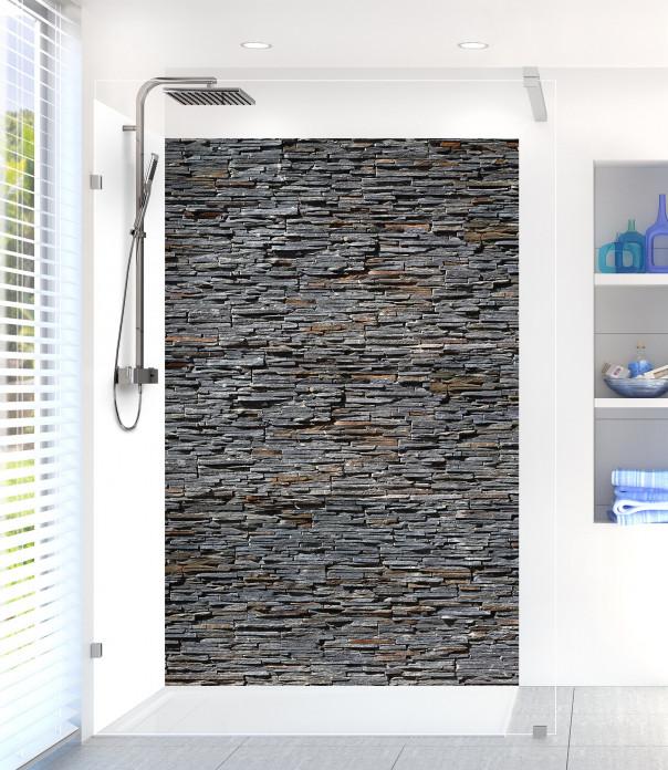 Panneau de douche Pierres plates gris foncé