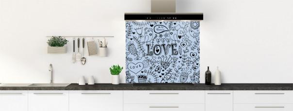 Crédence de cuisine Love illustration couleur bleu azur fond de hotte