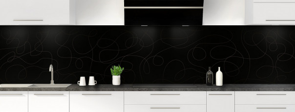 Crédence de cuisine Gribouillis couleur noir panoramique