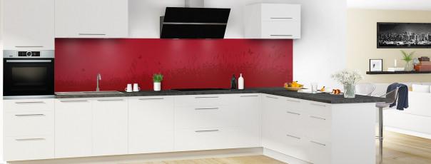 Crédence de cuisine Prairie et papillons couleur rouge carmin panoramique motif inversé en perspective